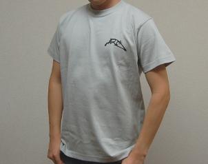 織田信長デザインTシャツ前面(グレイ)